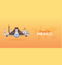 travel to mexico airplane with attractions vector image vector image