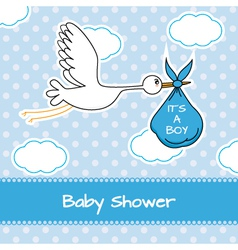 Baby boy arrival announcement card vector image