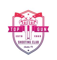 gun club vintage logo emblem with revolvers vector image vector image