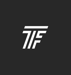 monogram letter tf logo linked two capital vector image