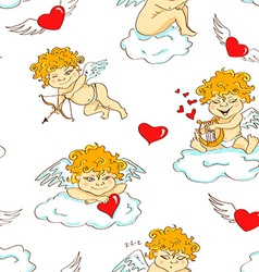 Seamless pattern with funny cartoon cupids vector image vector image