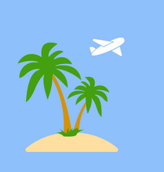 stylized icon palm trees on an island in the ocean vector image