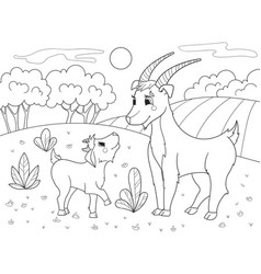 childrens cartoon coloring book a family of goats vector image