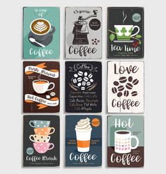 coffee and tea vintage poster vector image