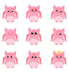 emotions of pink owls vector image vector image