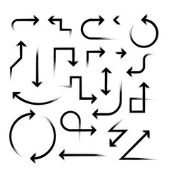 hand drawn arrow set on white vector image