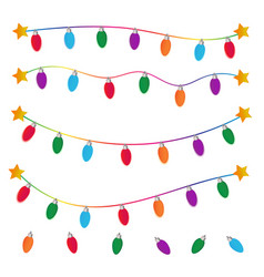 string of christmas lights on white background vector image vector image
