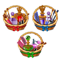 three wicker baskets with cosmetic set vector image