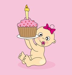 baby girl birthday cake vector image