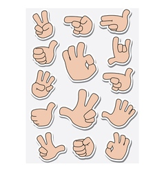 collection of sticker gestures vector image vector image