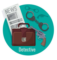 detective officer accessories set inside isolated vector image