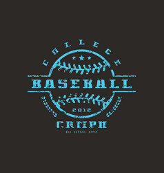 emblem of baseball college championship vector image vector image