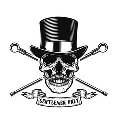 gentlemen only human skull in vintage hat with vector image