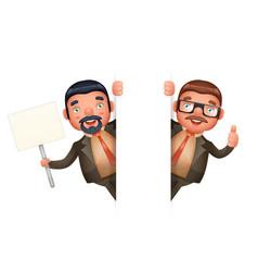 look out corner cute businessman man 3d realistic vector image
