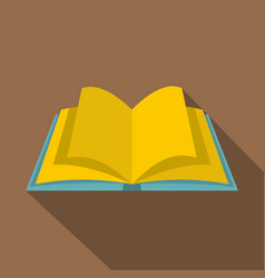 Open book with yellow pages icon flat style vector