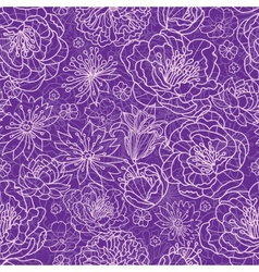 Purple lace flowers seamless pattern background vector image