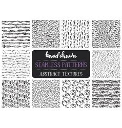 Set of ten hand drawn ink seamless patterns vector image vector image