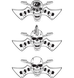 skull with crossed guitars vector image