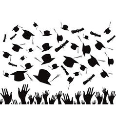 Students graduating and tossing caps vector image vector image