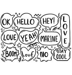 0100 hand drawn background set cute speech vector