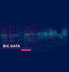 3d big array data backgrounds with points grid vector image