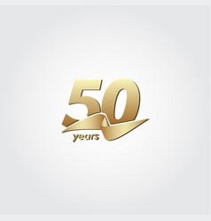 50 years anniversary celebration gold ribbon vector