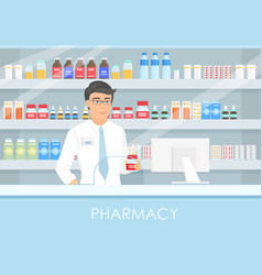 A handsome male pharmacist vector