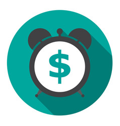 alarm clock is showing a money time vector image