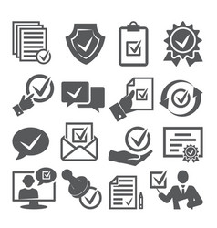 approved icons set on white background vector image
