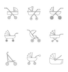 baby pram icon set outline style vector image