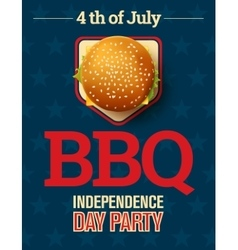barbecue party invitation with cheeseburger vector image