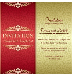 Baroque invitation gold and red vector image