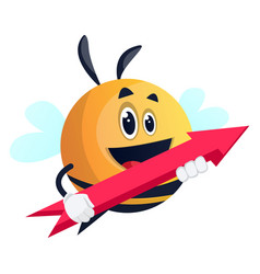 bee holding an arrow on white background vector image