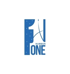 Blue and white number one diagonal logo template vector