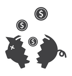 broken piggy bank vector image