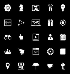 Business plan icons on black background vector