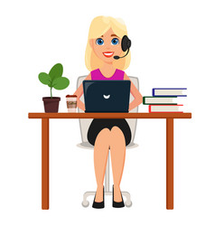 Business woman working on laptop at her office vector