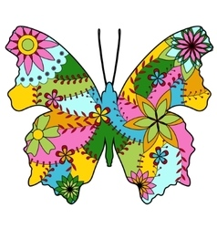 Butterfly silhouette colorful vector image