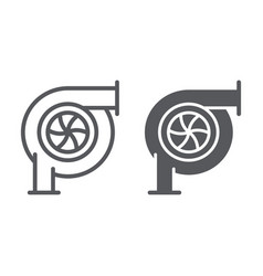 Car turbine line and glyph icon auto and part vector