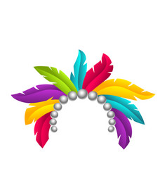carnival feather headband headdress with pearls vector image