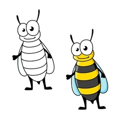 Cartoon yellow jacket wasp insect character vector