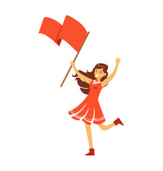 Cheering football fan girl character in red vector