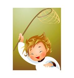 Child holding fishing net vector