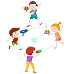 Children playing with water gun vector