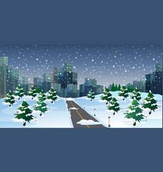 Cityscape scene at winter night vector