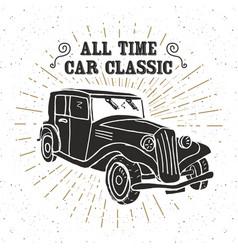 classic car vintage label hand drawn sketch vector image