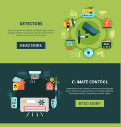 Climate control and detectors banners vector