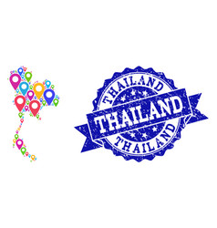 collage map of thailand with map pins and textured vector image