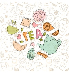 colored doodle sweets and tea items vector image