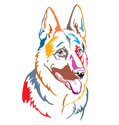 Colorful decorative portrait german shepherd vector